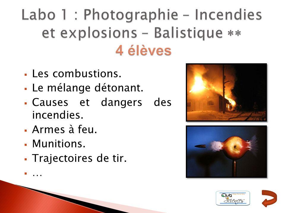 Les combustions. Le mélange détonant. Causes et dangers des incendies. Armes à feu. Munitions. Trajectoires de tir. …