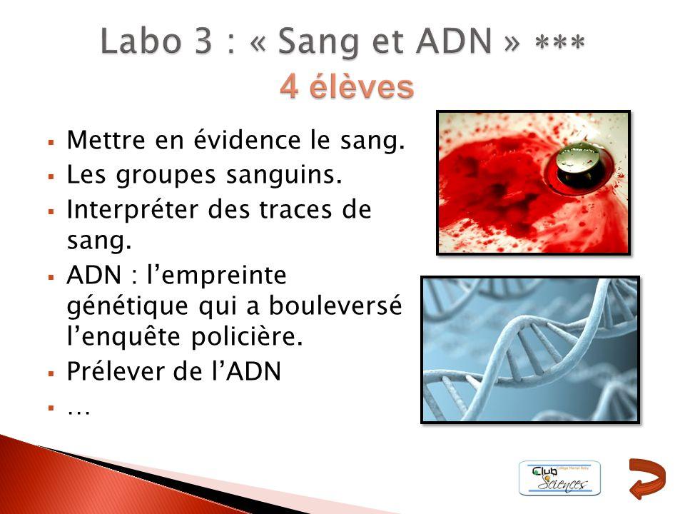 Mettre en évidence le sang. Les groupes sanguins. Interpréter des traces de sang. ADN : lempreinte génétique qui a bouleversé lenquête policière. Prél