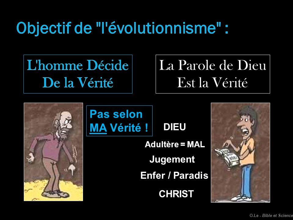 La Parole de Dieu Est la Vérité Adultère = MAL Pas selon MA Vérité ! Jugement Enfer / Paradis DIEU CHRIST O.Le - Bible et Science