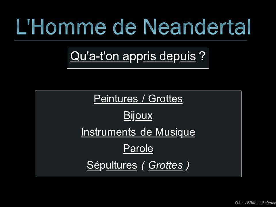 Qu'a-t'on appris depuis ? Peintures / Grottes Bijoux Instruments de Musique Parole Sépultures ( Grottes ) O.Le - Bible et Science