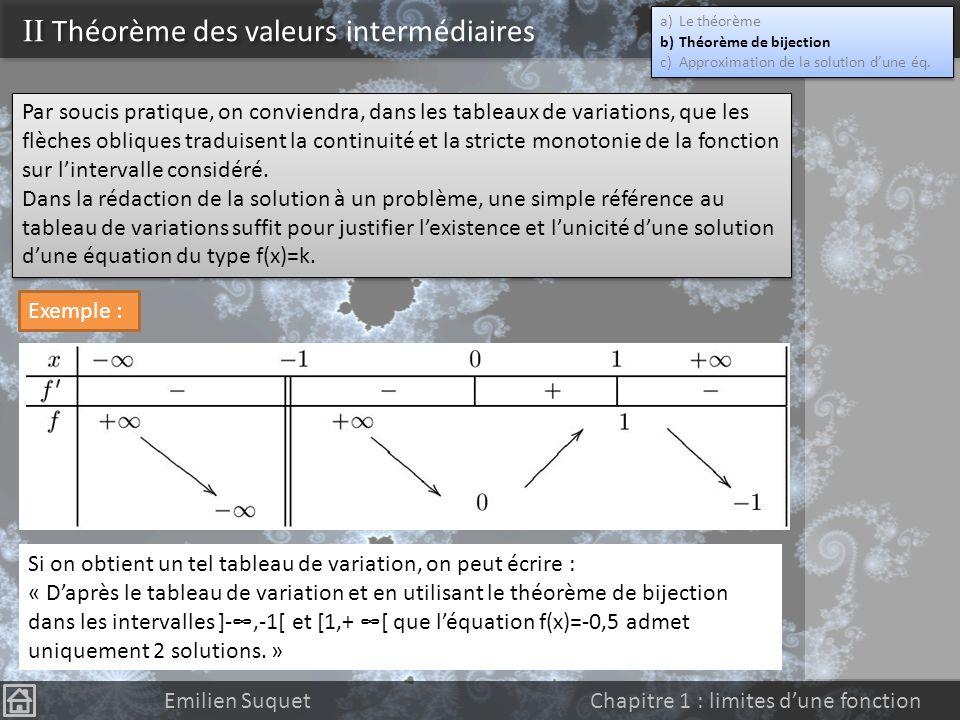 II Théorème des valeurs intermédiaires Emilien Suquet Chapitre 1 : limites dune fonction Le théorème précédent peut être généraliser à toutes sortes d