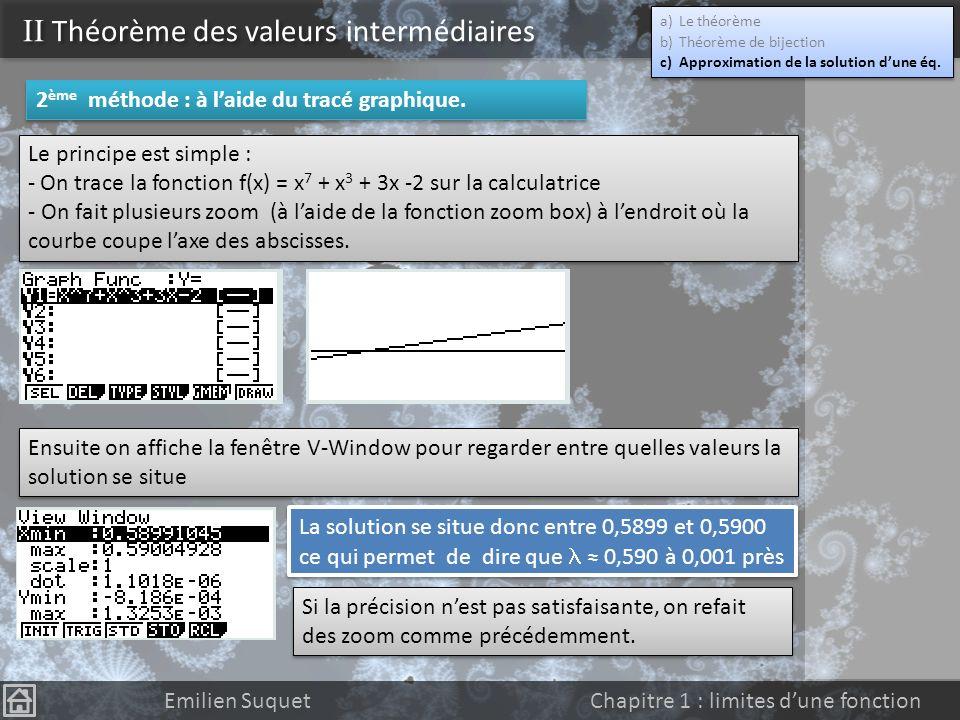 II Théorème des valeurs intermédiaires Emilien Suquet Chapitre 1 : limites dune fonction Le théorème précédent est très pratique mais ne permet pas de
