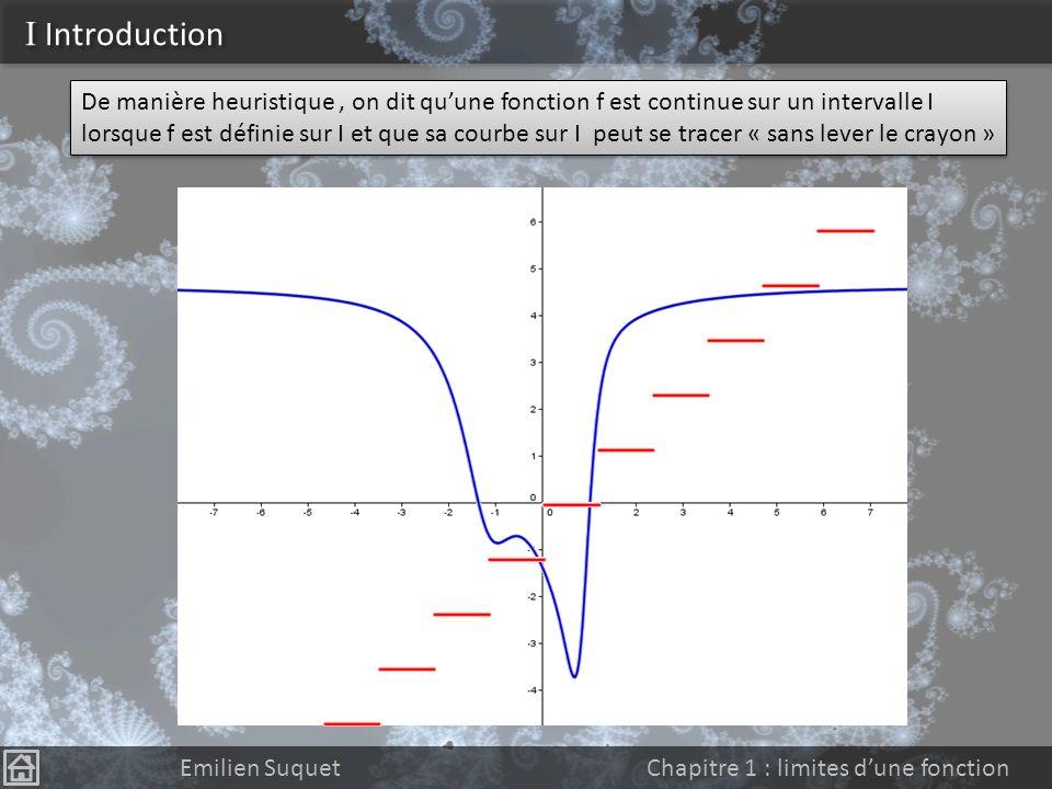 Continuité Emilien Suquet Chapitre 2 : continuité 1)Introduction 2)Continuité a)Définition b)La fonction Partie Entière c)Prolongement par continuité