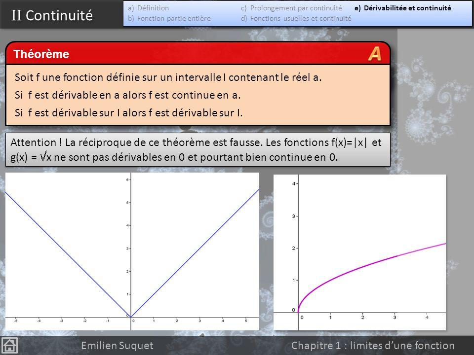 II Continuité Emilien Suquet Chapitre 1 : limites dune fonction Prouvez que la fonction f est continue sur IR Théorème Les fonctions polynômes, sinus,