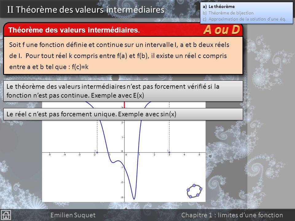 II Continuité Emilien Suquet Chapitre 1 : limites dune fonction Attention ! La réciproque de ce théorème est fausse. Les fonctions f(x)=|x| et g(x) =