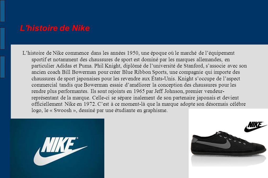 L'histoire de Nike Lhistoire de Nike commence dans les années 1950, une époque où le marché de léquipement sportif et notamment des chaussures de spor