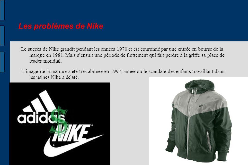 Les problèmes de Nike Le succès de Nike grandit pendant les années 1970 et est couronné par une entrée en bourse de la marque en 1981. Mais sensuit un