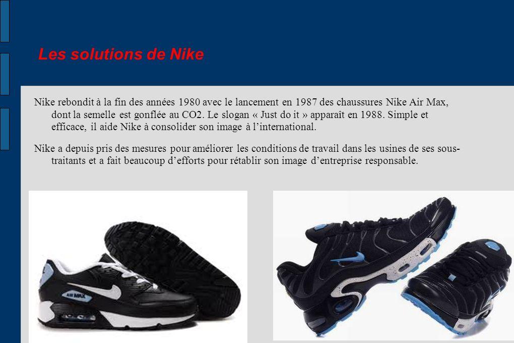 Les solutions de Nike Nike rebondit à la fin des années 1980 avec le lancement en 1987 des chaussures Nike Air Max, dont la semelle est gonflée au CO2