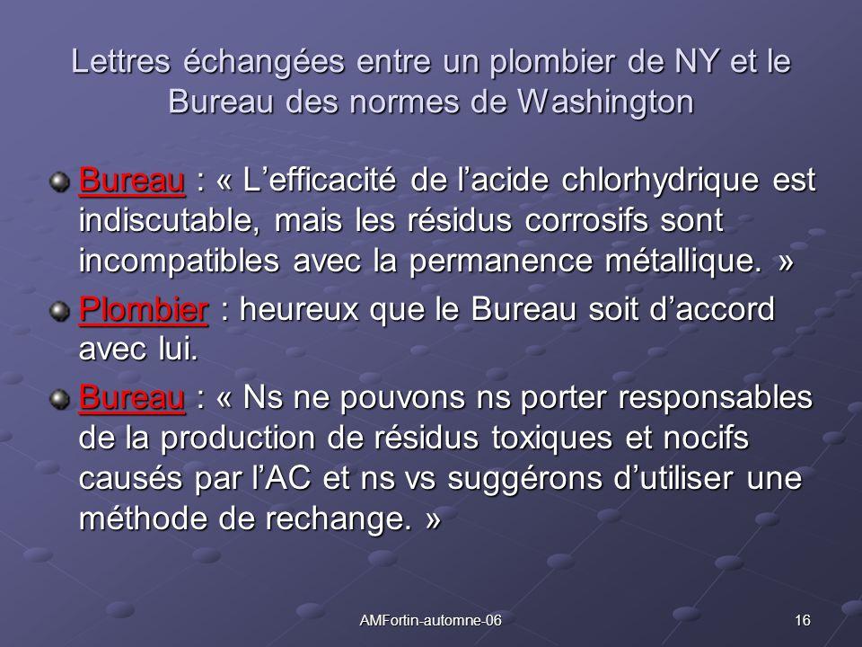 16AMFortin-automne-06 Lettres échangées entre un plombier de NY et le Bureau des normes de Washington Bureau : « Lefficacité de lacide chlorhydrique e