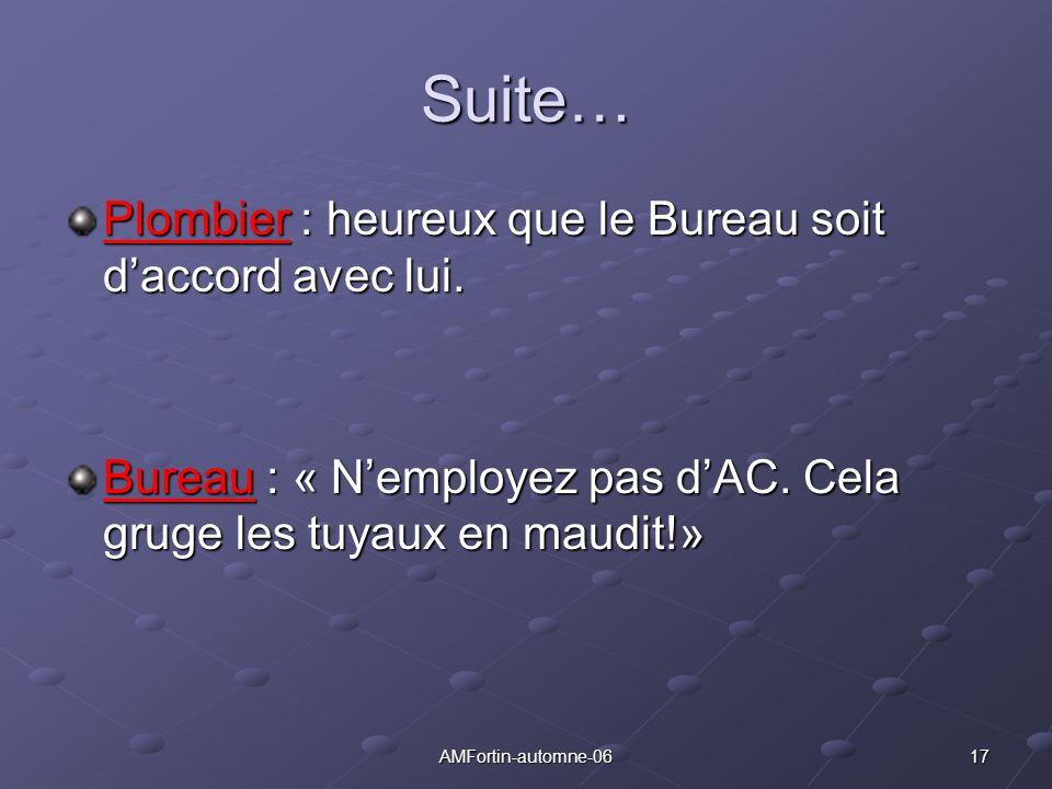17AMFortin-automne-06 Suite… Plombier : heureux que le Bureau soit daccord avec lui. Bureau : « Nemployez pas dAC. Cela gruge les tuyaux en maudit!»