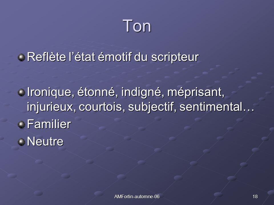 18AMFortin-automne-06 Ton Reflète létat émotif du scripteur Ironique, étonné, indigné, méprisant, injurieux, courtois, subjectif, sentimental… Familie