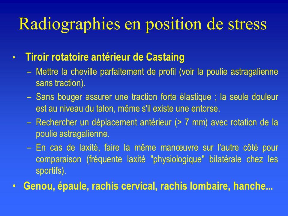 Radiographies en position de stress Tiroir rotatoire antérieur de Castaing –Mettre la cheville parfaitement de profil (voir la poulie astragalienne sans traction).