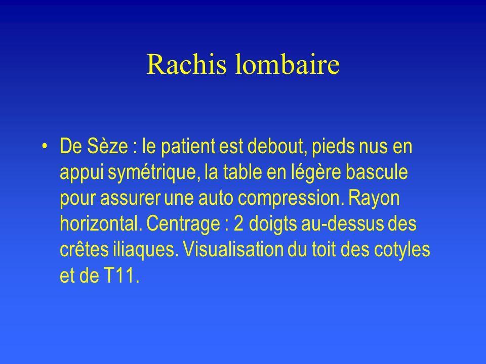 Rachis lombaire De Sèze : le patient est debout, pieds nus en appui symétrique, la table en légère bascule pour assurer une auto compression. Rayon ho