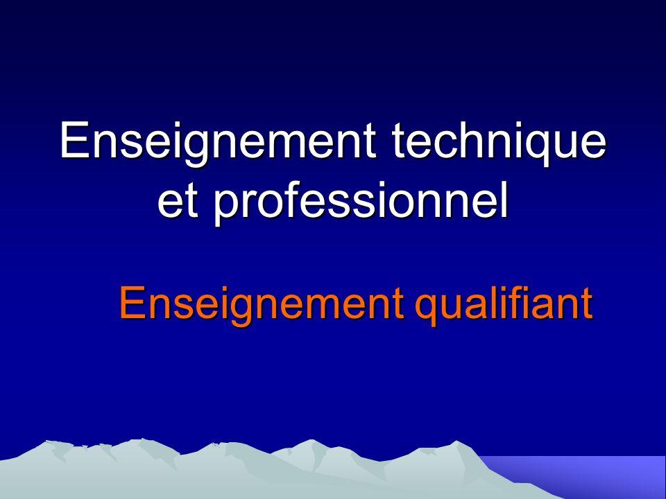 Enseignement technique et professionnel Enseignement qualifiant