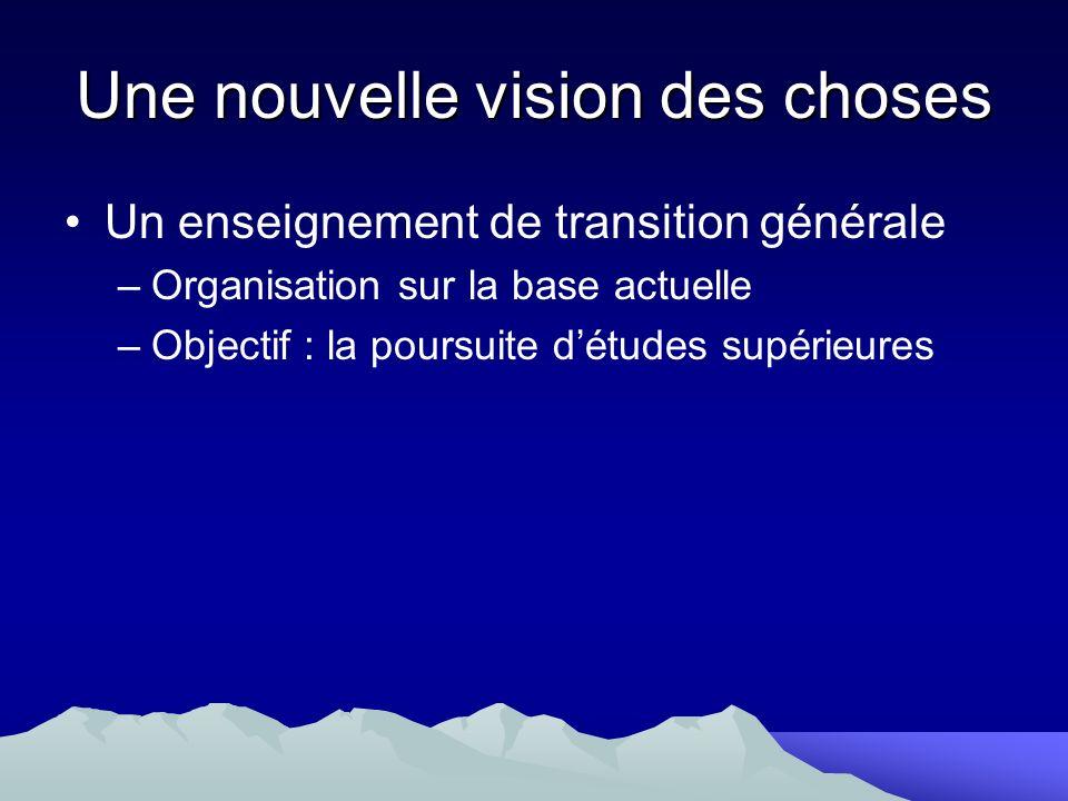 Une nouvelle vision des choses Un enseignement de transition générale –Organisation sur la base actuelle –Objectif : la poursuite détudes supérieures