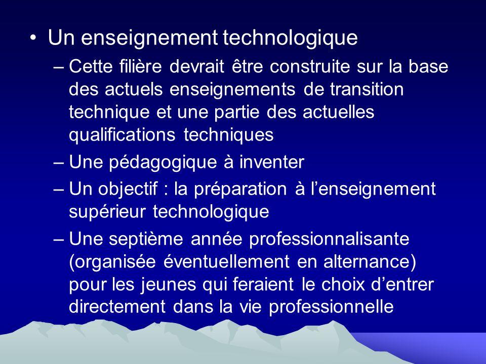 Un enseignement technologique –Cette filière devrait être construite sur la base des actuels enseignements de transition technique et une partie des a