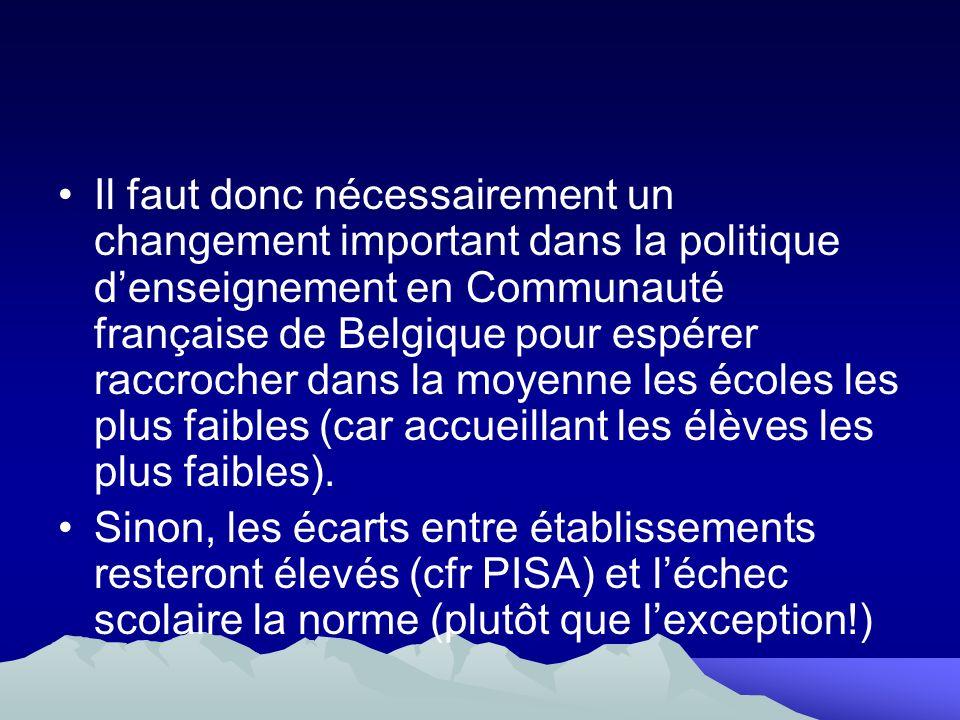 Il faut donc nécessairement un changement important dans la politique denseignement en Communauté française de Belgique pour espérer raccrocher dans l