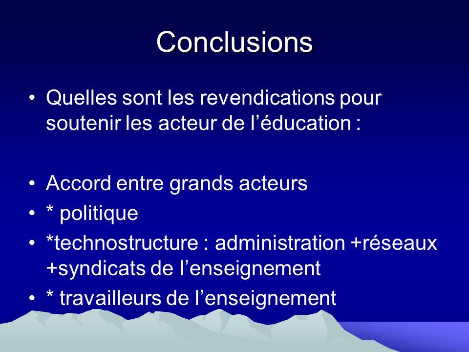 Conclusions Quelles sont les revendications pour soutenir les acteur de léducation : Accord entre grands acteurs * politique *technostructure : admini