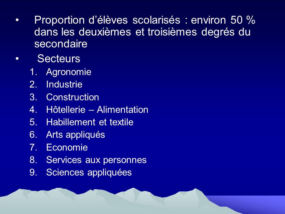 Proportion délèves scolarisés : environ 50 % dans les deuxièmes et troisièmes degrés du secondaire Secteurs 1.Agronomie 2.Industrie 3.Construction 4.H