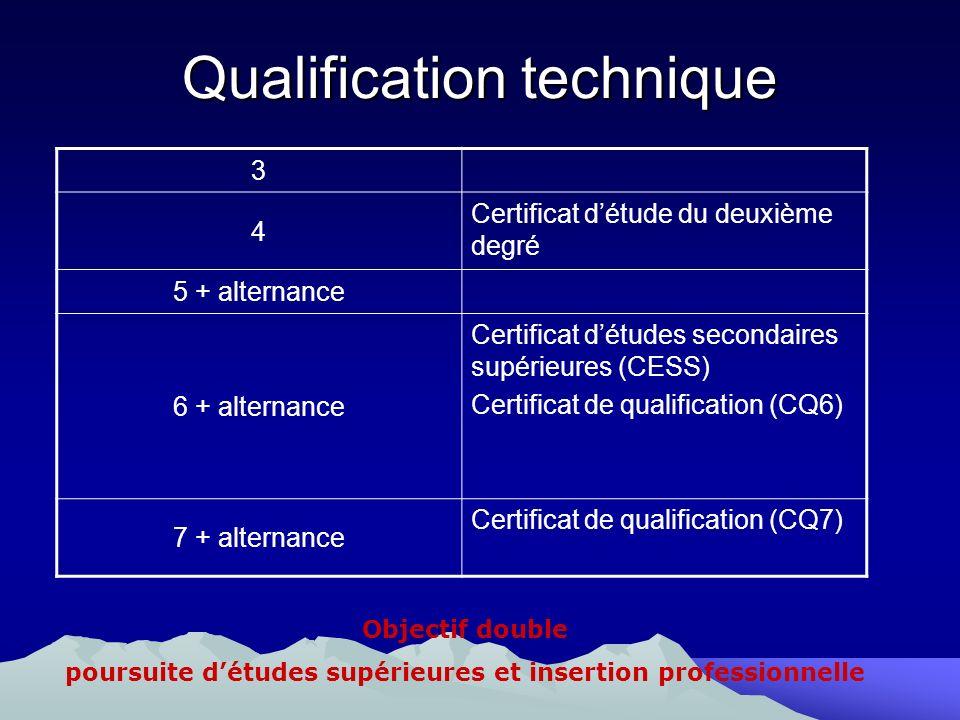 Qualification technique 3 4 Certificat détude du deuxième degré 5 + alternance 6 + alternance Certificat détudes secondaires supérieures (CESS) Certif