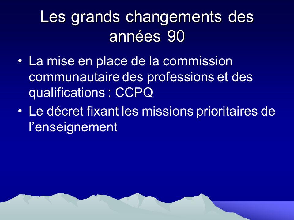La mise en place de la commission communautaire des professions et des qualifications : CCPQ Le décret fixant les missions prioritaires de lenseigneme