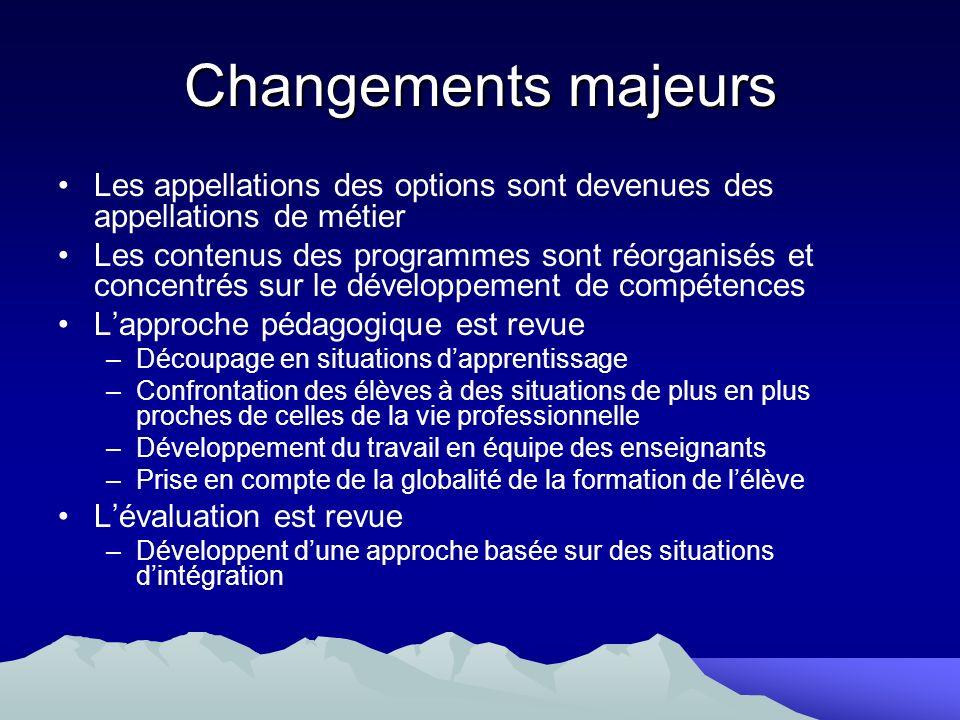 Changements majeurs Les appellations des options sont devenues des appellations de métier Les contenus des programmes sont réorganisés et concentrés s