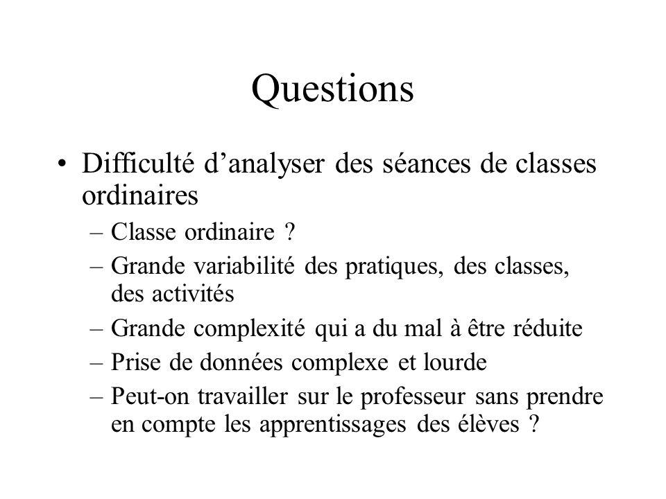 Questions Difficulté danalyser des séances de classes ordinaires –Classe ordinaire .