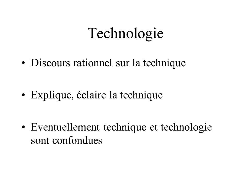 Technologie Discours rationnel sur la technique Explique, éclaire la technique Eventuellement technique et technologie sont confondues