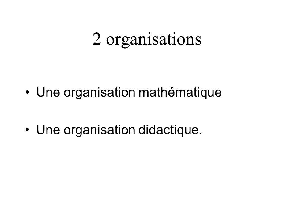 2 organisations Une organisation mathématique Une organisation didactique.