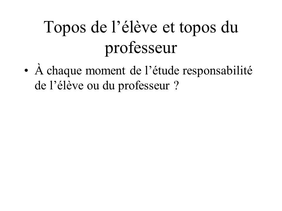 Topos de lélève et topos du professeur À chaque moment de létude responsabilité de lélève ou du professeur ?