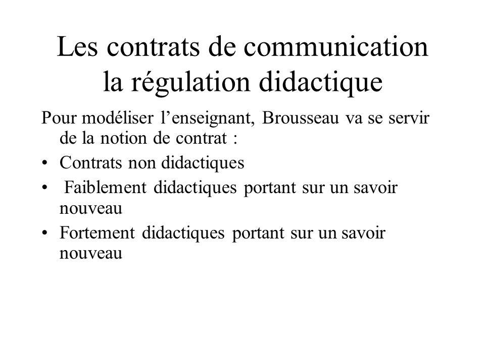 Les contrats de communication la régulation didactique Pour modéliser lenseignant, Brousseau va se servir de la notion de contrat : Contrats non didactiques Faiblement didactiques portant sur un savoir nouveau Fortement didactiques portant sur un savoir nouveau