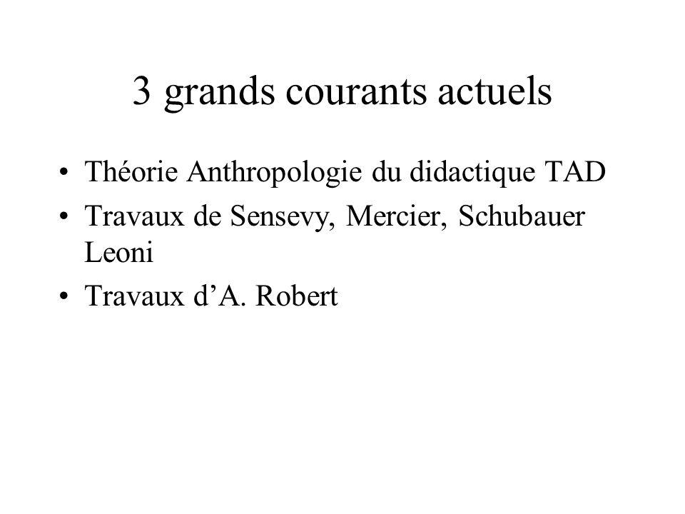3 grands courants actuels Théorie Anthropologie du didactique TAD Travaux de Sensevy, Mercier, Schubauer Leoni Travaux dA.