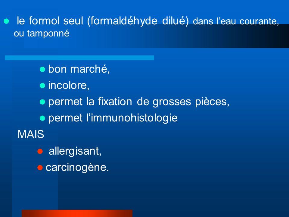 le formol seul (formaldéhyde dilué) dans leau courante, ou tamponné bon marché, incolore, permet la fixation de grosses pièces, permet limmunohistolog