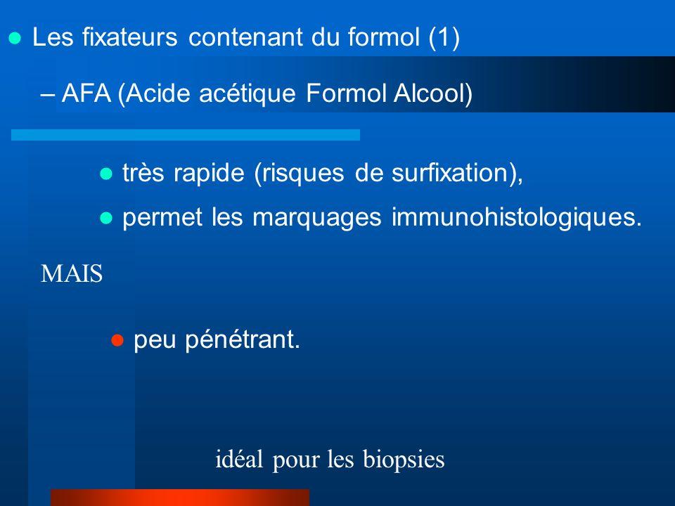 –Bouin (Acide acétique Formol Acide picrique) rapide, pénétrant, légères rétractions tissulaires, très belles colorations topographiques, ne permet que difficilement limmunohistologie, coloré : tache .