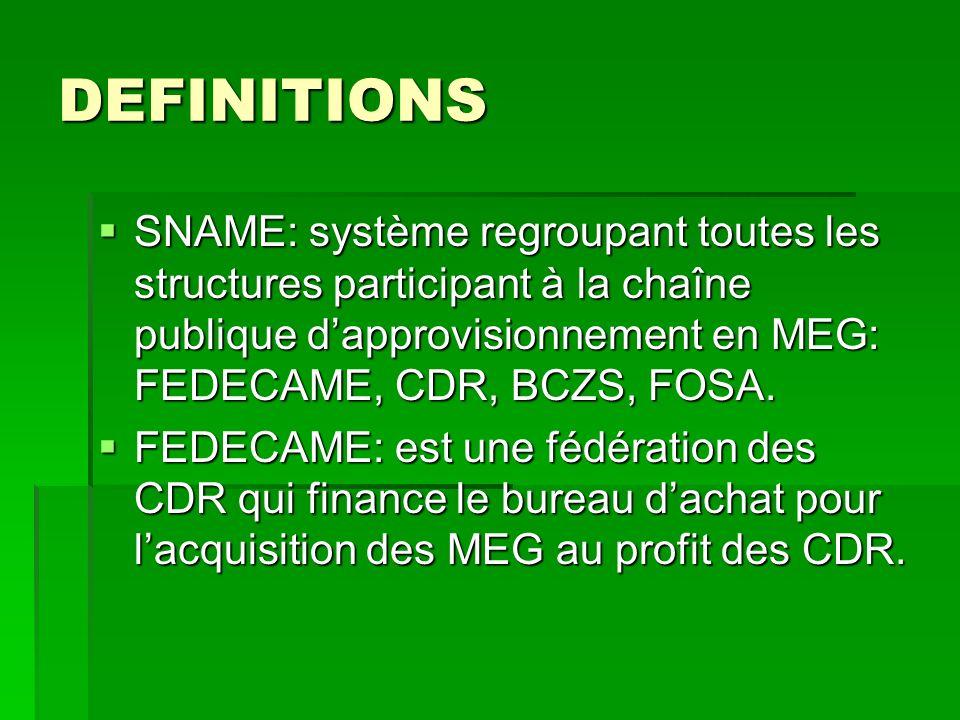 DEFINITIONS SNAME: système regroupant toutes les structures participant à la chaîne publique dapprovisionnement en MEG: FEDECAME, CDR, BCZS, FOSA. SNA