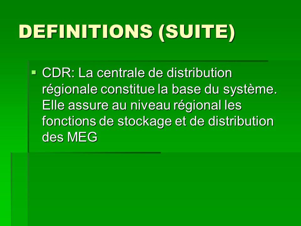 DEFINITIONS (SUITE) CDR: La centrale de distribution régionale constitue la base du système. Elle assure au niveau régional les fonctions de stockage