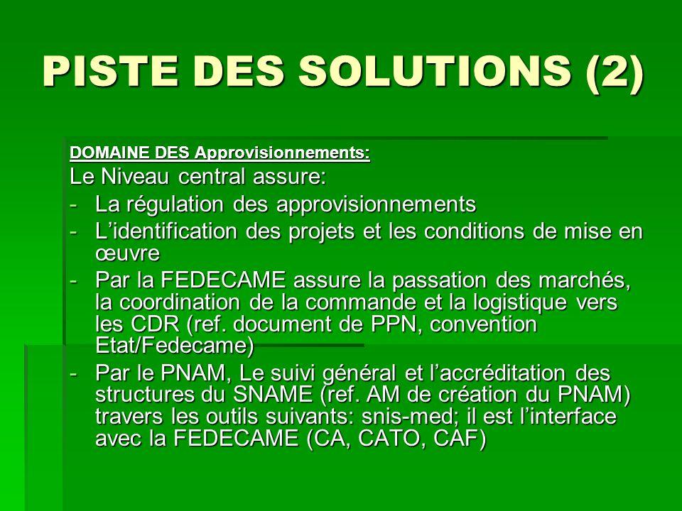 PISTE DES SOLUTIONS (2) DOMAINE DES Approvisionnements: Le Niveau central assure: -La régulation des approvisionnements -Lidentification des projets e