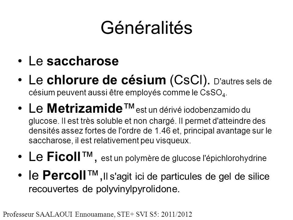 Généralités Le saccharose Le chlorure de césium (CsCl). D'autres sels de césium peuvent aussi être employés comme le CsSO 4. Le Metrizamide est un dér