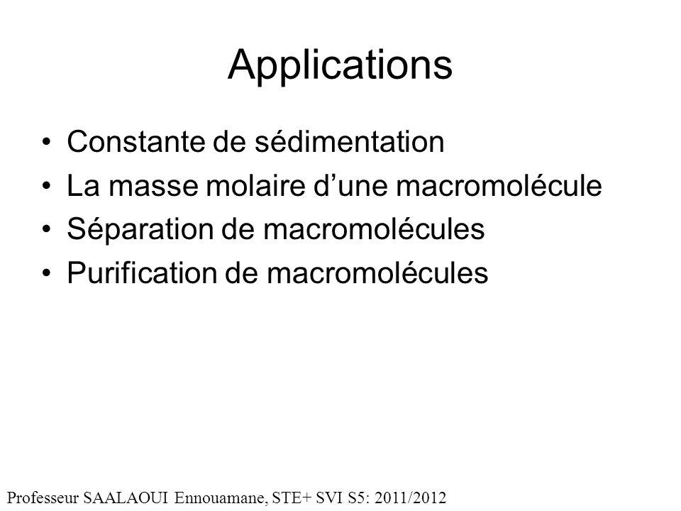 Applications Constante de sédimentation La masse molaire dune macromolécule Séparation de macromolécules Purification de macromolécules Professeur SAALAOUI Ennouamane, STE+ SVI S5: 2011/2012