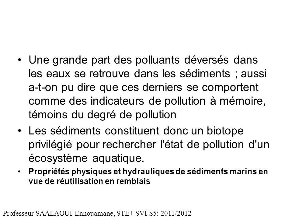Une grande part des polluants déversés dans les eaux se retrouve dans les sédiments ; aussi a-t-on pu dire que ces derniers se comportent comme des in