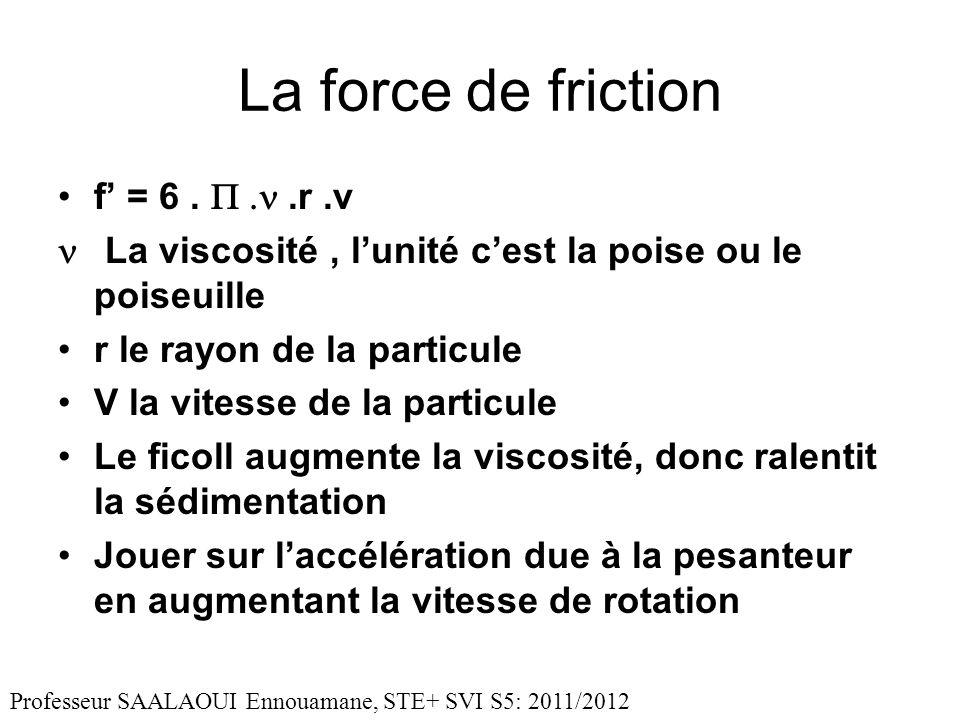 La force de friction f = 6..r.v La viscosité, lunité cest la poise ou le poiseuille r le rayon de la particule V la vitesse de la particule Le ficoll augmente la viscosité, donc ralentit la sédimentation Jouer sur laccélération due à la pesanteur en augmentant la vitesse de rotation Professeur SAALAOUI Ennouamane, STE+ SVI S5: 2011/2012