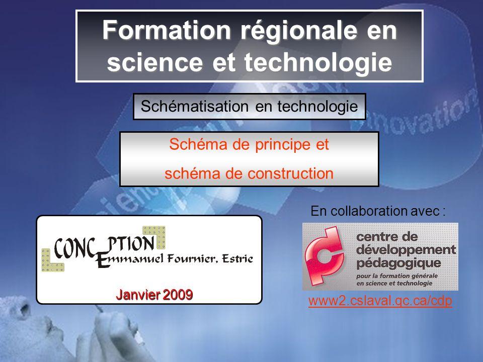 Formation régionale en science et technologie Schématisation en technologie Schéma de principe et schéma de construction En collaboration avec : www2.cslaval.qc.ca/cdp Janvier 2009
