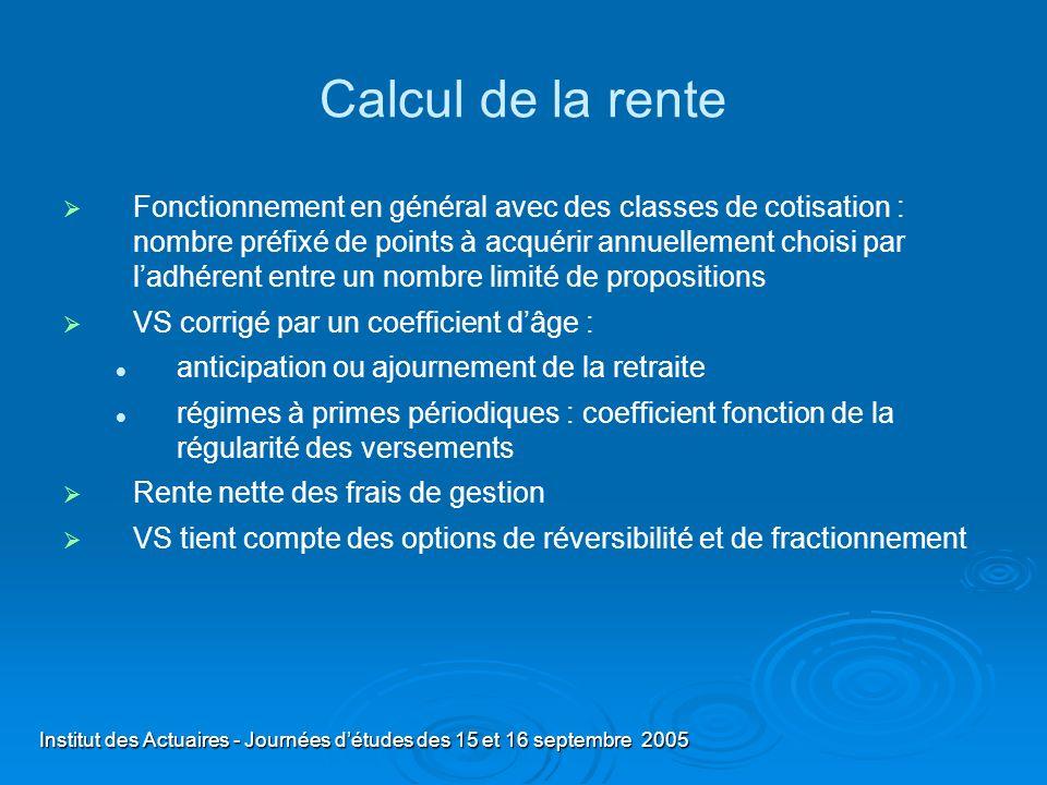 Institut des Actuaires - Journées détudes des 15 et 16 septembre 2005 Calcul de la rente Fonctionnement en général avec des classes de cotisation : no