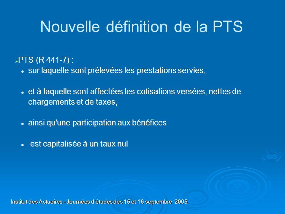 Institut des Actuaires - Journées détudes des 15 et 16 septembre 2005 Nouvelle définition de la PTS PTS (R 441-7) : sur laquelle sont prélevées les pr