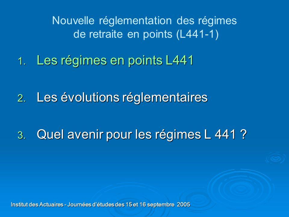 Institut des Actuaires - Journées détudes des 15 et 16 septembre 2005 Nouvelle réglementation des régimes de retraite en points (L441-1) 1. Les régime