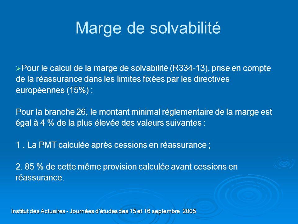Institut des Actuaires - Journées détudes des 15 et 16 septembre 2005 Marge de solvabilité Pour le calcul de la marge de solvabilité (R334-13), prise