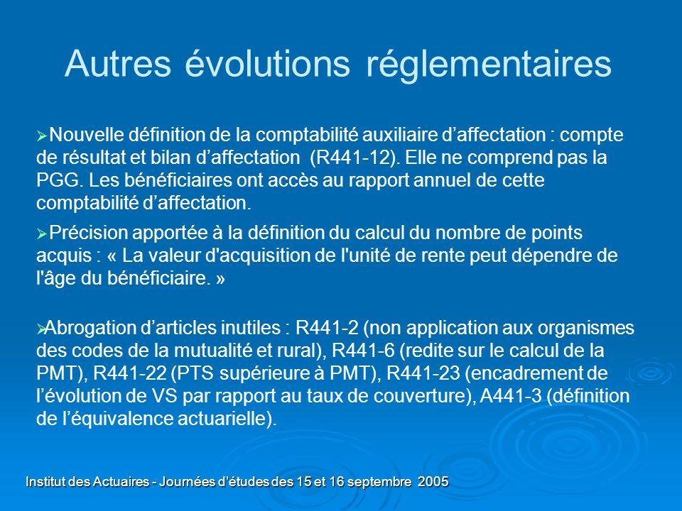 Institut des Actuaires - Journées détudes des 15 et 16 septembre 2005 Autres évolutions réglementaires Nouvelle définition de la comptabilité auxiliai