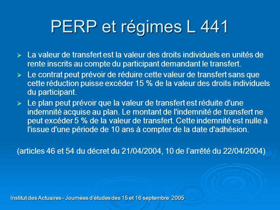 Institut des Actuaires - Journées détudes des 15 et 16 septembre 2005 PERP et régimes L 441 La valeur de transfert est la valeur des droits individuel