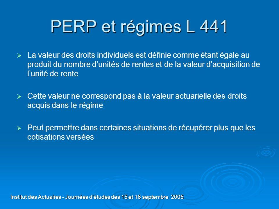 Institut des Actuaires - Journées détudes des 15 et 16 septembre 2005 PERP et régimes L 441 La valeur des droits individuels est définie comme étant é