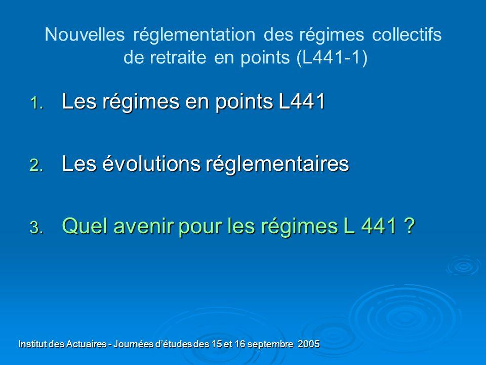 Institut des Actuaires - Journées détudes des 15 et 16 septembre 2005 Nouvelles réglementation des régimes collectifs de retraite en points (L441-1) 1